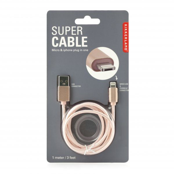 Super kabel 2 v 1 – rose gold
