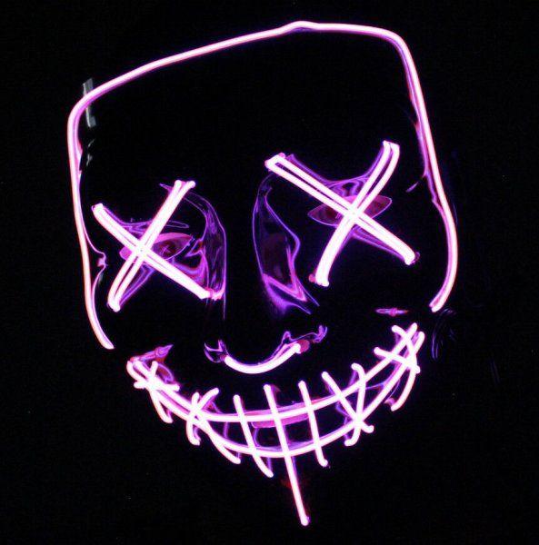 Maska se světelným efektem - The Purge - Růžovo-bílá