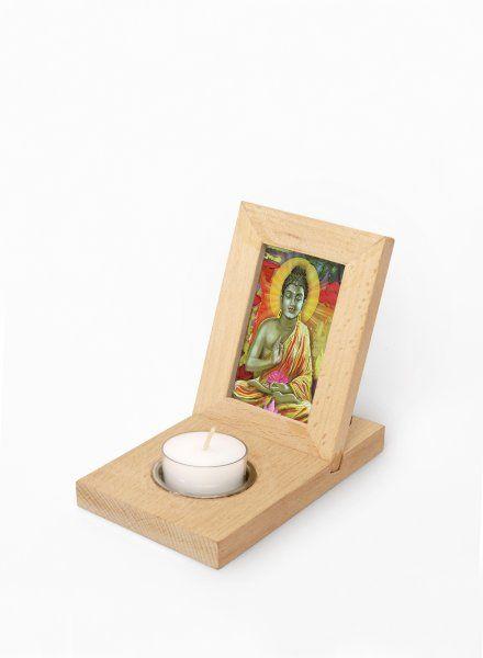 Dřevěný rámeček na fotky se svíčkou