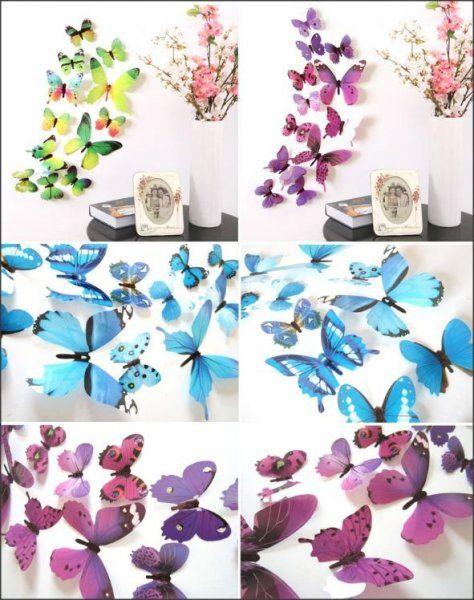 3D motýlci na stěnu - modrá