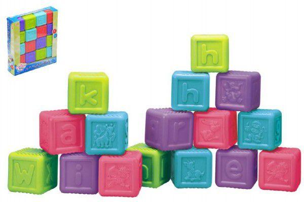 Abecední kostky plast 16ks v krabici 21x24x6cm 6m+