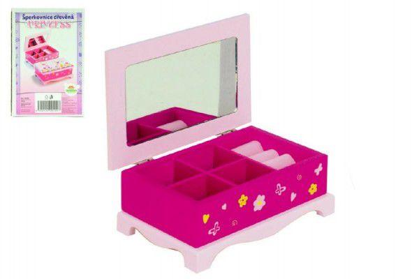 Skříňka šperkovnice Princess zrcadlo dřevo 17x7x11 5cm 00100023