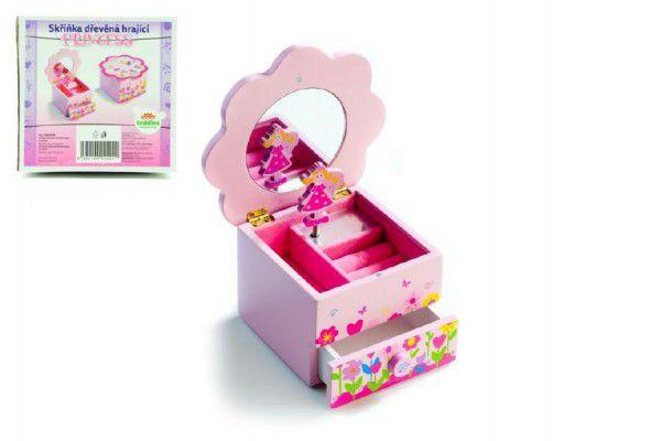 Princess Skříňka šperkovnice dřevo hrající květina zásuvka 14,5x8x14,5cm