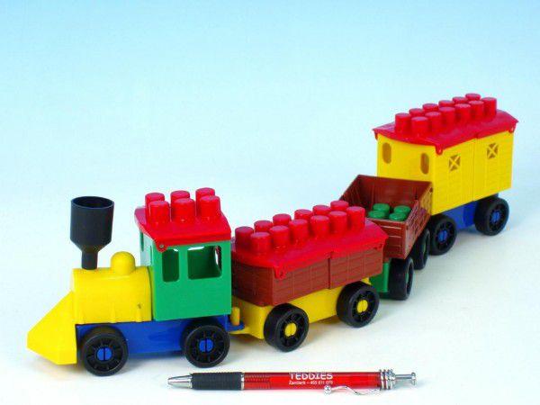 LORI Stavebnice 6 vlak+ 3 vagónky plast v sáčku 9x29x5cm