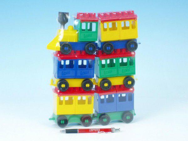 LORI Stavebnice 8 vlak + vagónků plast v sáčku 20x26x5cm