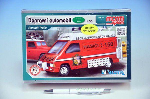 Stavebnice Monti 45 Fire Brigade-Renault Trafic 1:35 v krabici 22x16x5cm