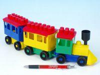 Stavebnice LORI 7 vlak + 2 vagónky plast v sáčku 9x26x5cm