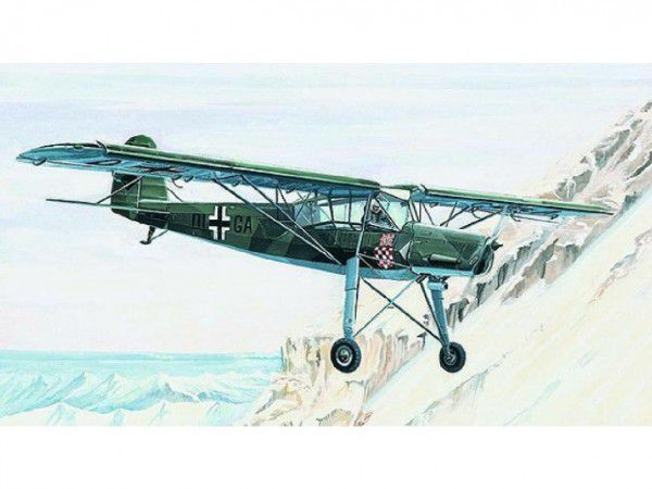 Model Fieseler FI-156 Storch 13,8x19,6cm v krabici 25x14,5x4,5cm