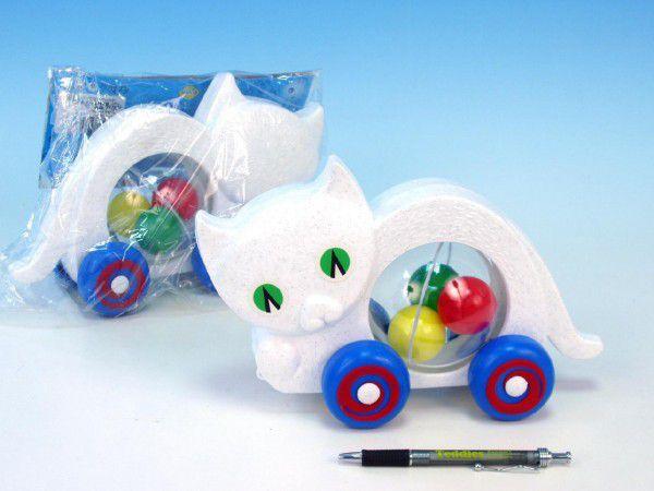 Směr Kočka s míčky tahací plast 27x16x10cm