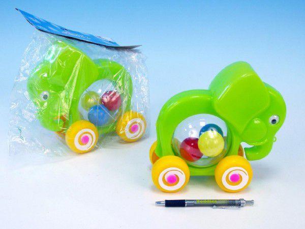 Směr Slon s míčky tahací plast 20x18x9,5 cm Modrá