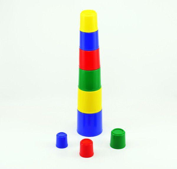 Kubus pyramida skládanka kulatá plast  9ks - 4 barvy