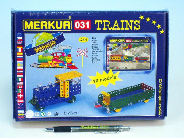 Merkur 031 Stavebnice Železniční modely 10 modelů 211ks v krabici 26x18x5cm