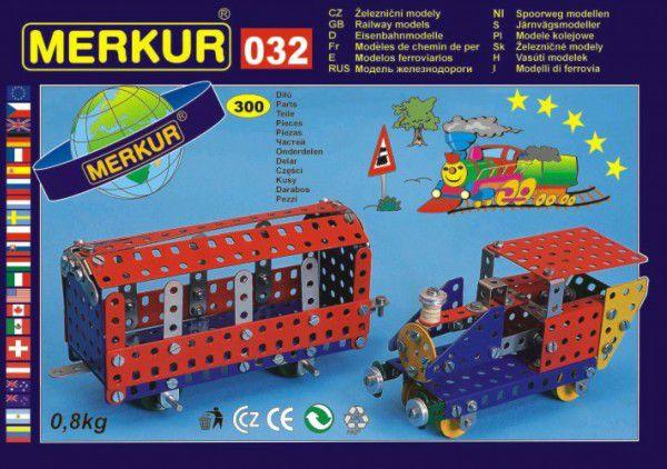 MERKUR 032 Stavebnice Železniční modely 10 modelů 300ks v krabici 36x27x3cm