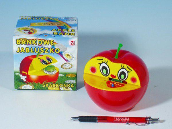 Pokladnička jablko plast 16x10cm asst 2 barvy v krabičce