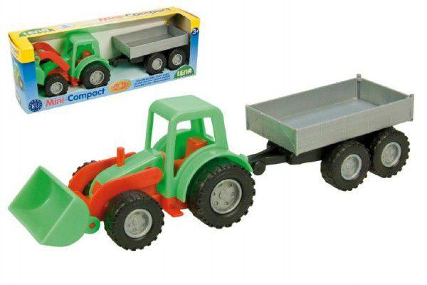 Lena Traktor Mini Compact s přívěsem plast 24cm v krabici