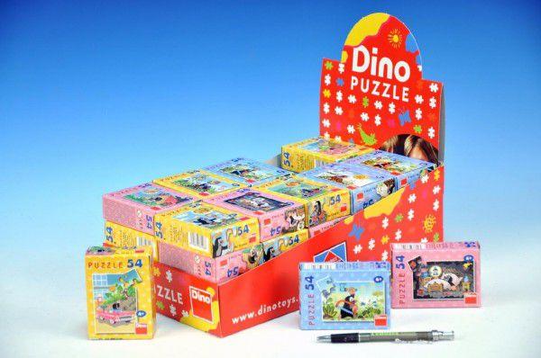 Minipuzzle Krtek 19,8×13,2cm 8 druhů 54 dílků v krabičce 9x7x3cm 40ks v boxu