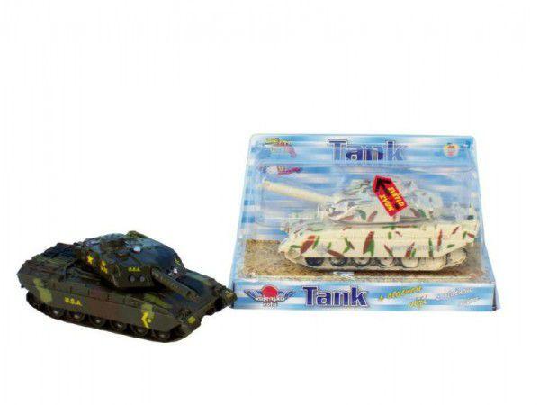 Mikro Trading Tank kov 14cm česky mluvící na zpětné natažení na baterie se světlem v krabičce