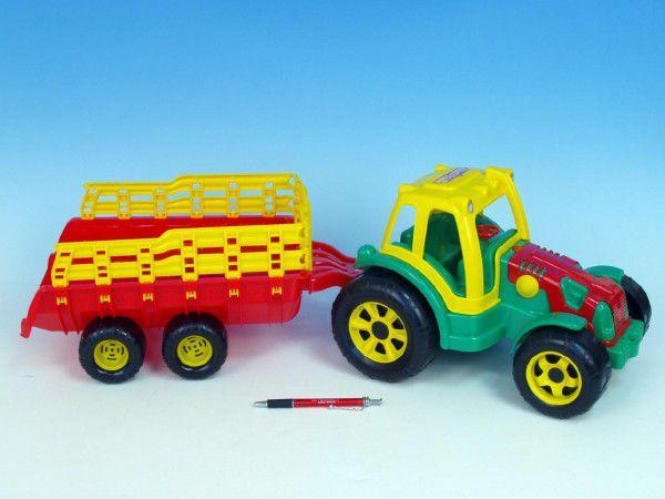 Teddies Traktor s vlekem plast 75cm