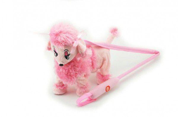 OEM Pes/pejsek Pudl na tyčce růžový chodící a hrající plyš na baterie 30cm