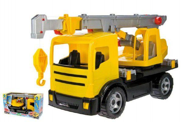 Lena Auto jeřáb plast 70cm 2-osý žlutý v krabici