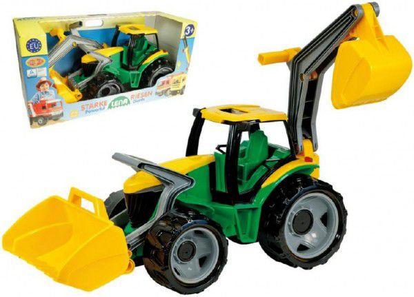 Lena Traktor se lžící a bagrem plast zeleno-žlutý 65cm