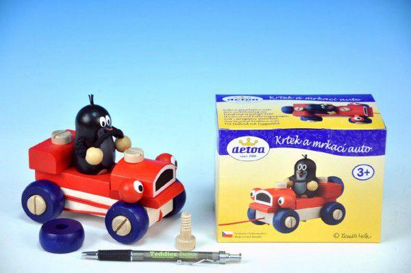 Detoa Krtek a mrkací auto dřevo tahací 14cm v krabičce