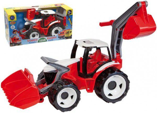 LENA Traktor se lžící a bagrem plast červenobílý 65cm