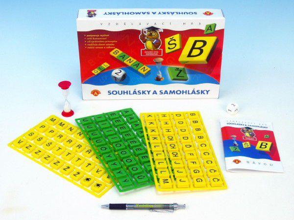 Samohlásky a souhlásky společenská hra vzdělávací v krabici 29x19x4cm