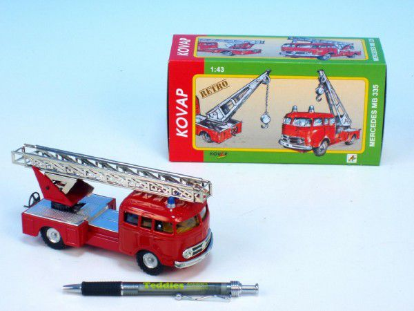 Teddies Mercedes Kovap 33Auto hasiči kov 17cm 1:v krabičce