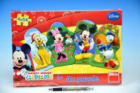 Puzzle Mickeyho klubík 4x54dílků v krabici 33x23x3cm