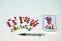Mariáš jednohlavý společenská hra karty v plastové krabičce 7x11cm