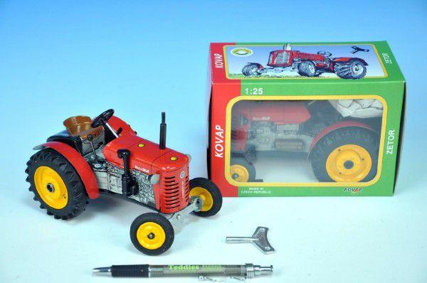Teddies Kovap Zetor 48276 Traktor 25A červený na klíček kov 15cm 1:25 v krabičce