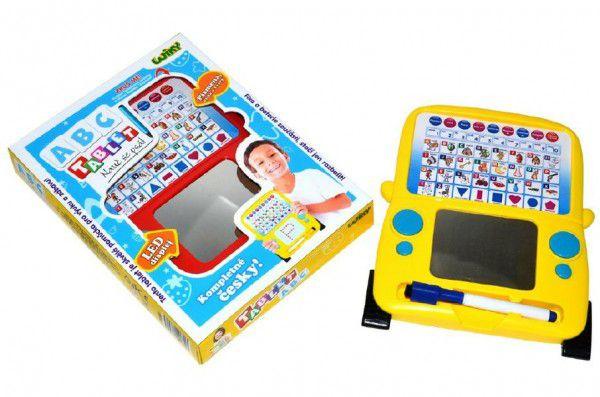 Naučný tablet ABC+psací plocha 20x25cm na baterie asst 2 barvy v krabici