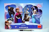 Puzzle Ledové království/Frozen 13x9cm 4x54 dílků v krabici 34x23x3,5cm