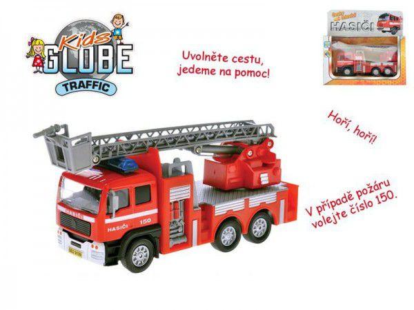 Teddies Auto hasiči kov 17cm česky mluvící na zpětné natažení na baterie se zvukem v krabičce