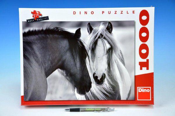 Teddies Černobílí koně 66x47cm v krabici 1000 dílků