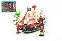 Pirátská loď + doplňky plast 25cm v krabici