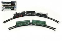 Vlak + 4 vagóny s kolejemi plast 210cm na baterie v krabici