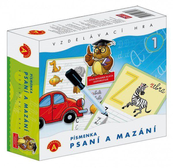 Písmena Psaní a mazání 1 didaktická společenská hra v krabici 19x18x5cm