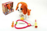 Pes štěňátko interaktivní nemocný plyš 22cm v krabici