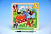 Skládačka Puzzle Krtek a mašinka dřevo 20ks vlak 18x18cm