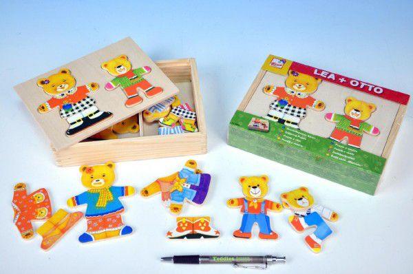 Teddies Šatník medvědi v dřevěné krabičce 26