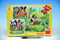 Puzzle Krtek a zvířátka 3x55dílků v krabici 27x19x3cm