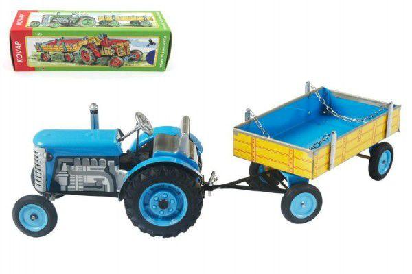 Kovap Traktor ZETOR s valníkem modrý kovový 28 cm na klíček