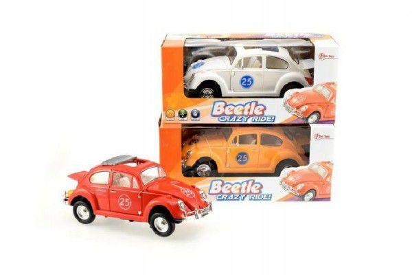 Auto závodní Beetle plast 22cm narážecí na baterie se zvukem se světlem asst 3 barvy v krabici
