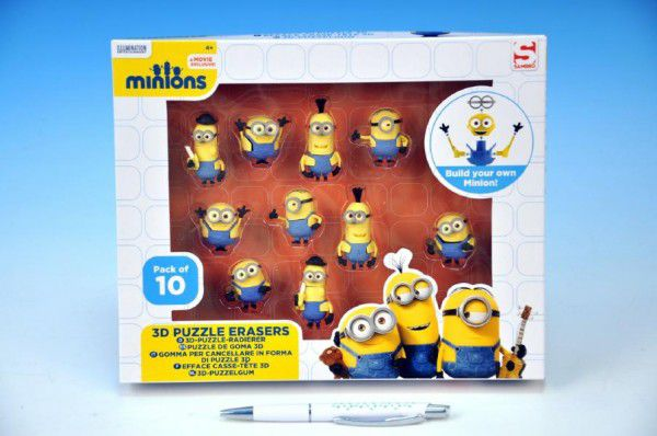 Teddies Puzzle Hlavolam 3D Mimoni 10ks gumové postavičky