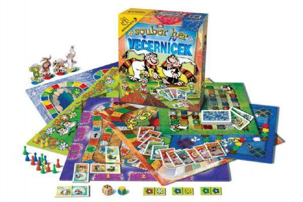 Teddies Večerníček 48847 Soubor her společenská hra v krabici 32x37x7cm
