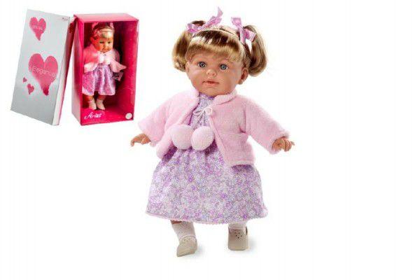Arias Teddies Panenka vonící 42cm růžové šaty smějící se měkké tělo