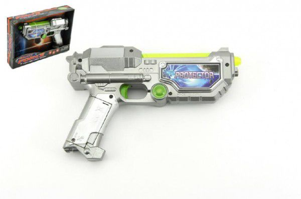 Teddies Pistole na baterie plast 22cm se zvukem a se světlem v krabici