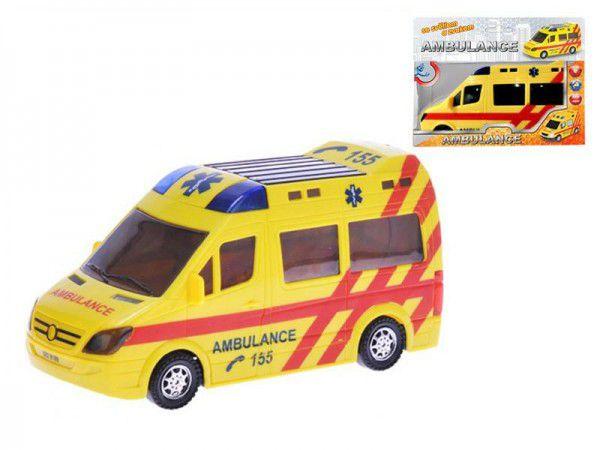 Mikro Trading Ambulance plast 21cm narážecí na baterie se světlem a zvukem